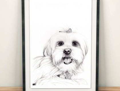 A3 Bespoke hand-drawn pet portrait - Best friend in the frame