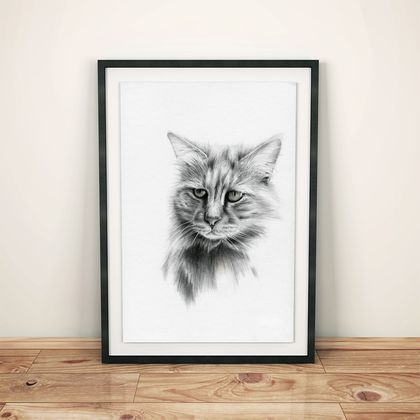 A4 Bespoke hand-drawn pet portrait - Best friend in the frame