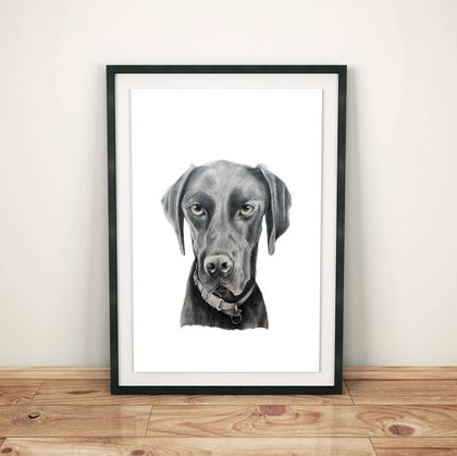 A3 Bespoke hand-drawn pet portrait - Best friend in the frame
