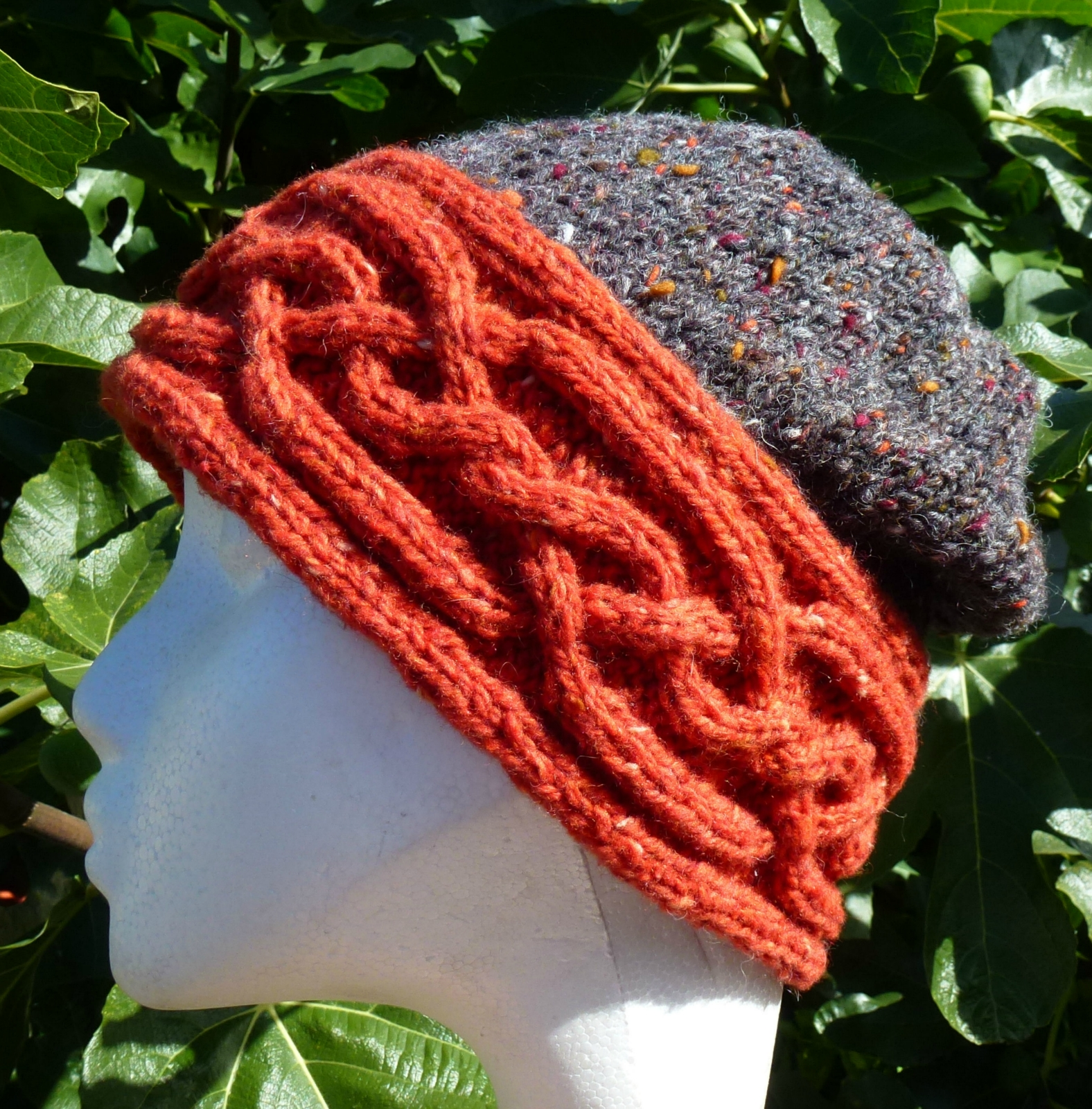 Soft Donegal Tweed Cloche Celtic Cable Orange Amp Black