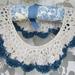Retro Hand Crochet Collar Ecru & Blue