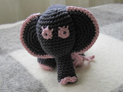 Grey & Pink Baby Elephant - Hand Crocheted