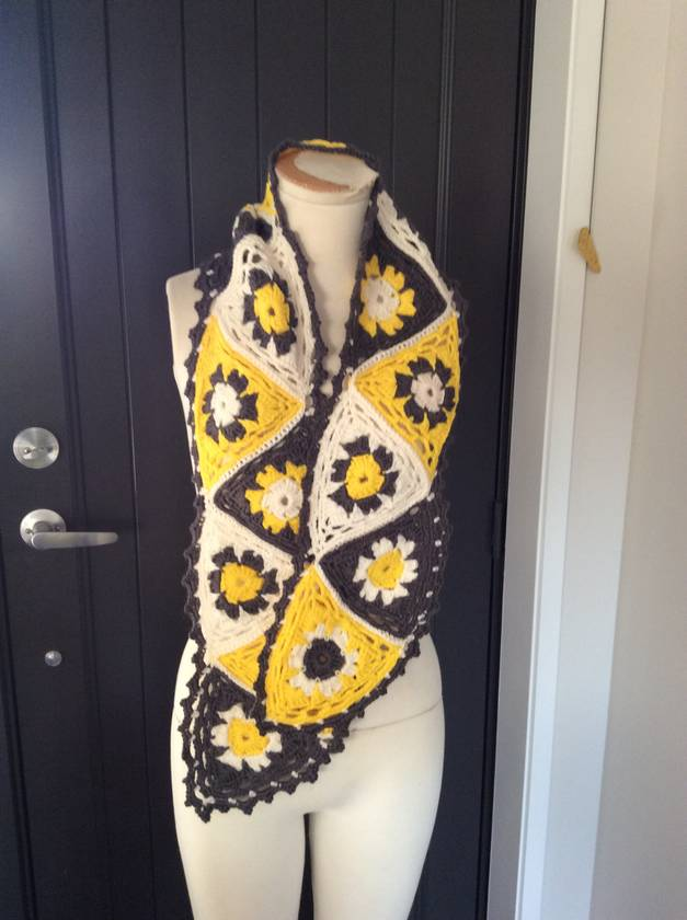 Bright Yellow/Grey/White Hand Crocheted Daisy Scarf