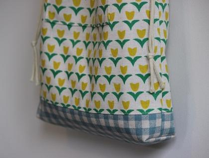 Yellow tulip print drawstring tote bag / nappy bag