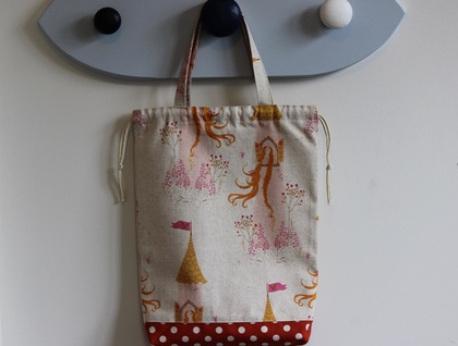 Rapunzel print drawstring tote bag / nappy bag