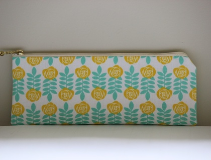 Yellow rose print pencil case / glasses case