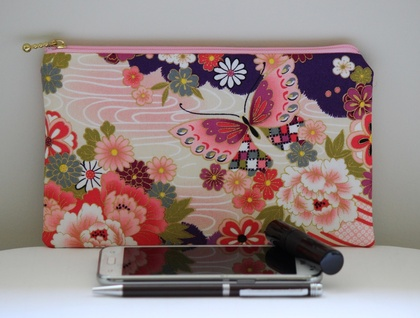 Japanese kimono print medium size pencil case / make-up pouch / toiletry pouch / clutch