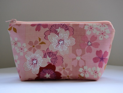 Cherry blossom print make-up pouch