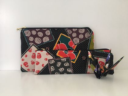 Japanese print medium size pouch and pencil case with a Japanese paper crane