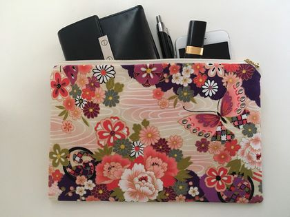 Large pouch / travel purse / toiletry pouch / clutch - Japanese retro pattern