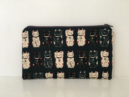 Japanese maneki-neko print medium size pencil case / make-up pouch / toiletry pouch / clutch