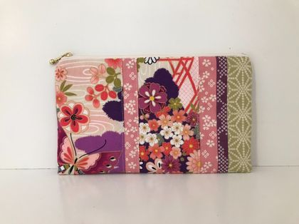 Kimono pattern patchwork - Medium size pencil case / make-up pouch / toiletry pouch / clutch