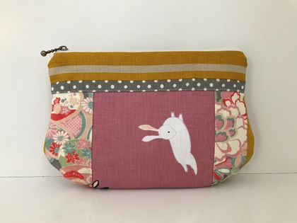 Japanese kimono pattern pouch / clutch / make-up pouch