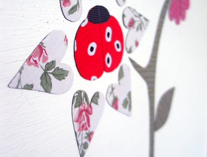 Double headed flower and ladybird - magnetic decals