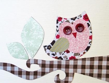Owls Perching - magnetic wall art set - chrimson & green florals