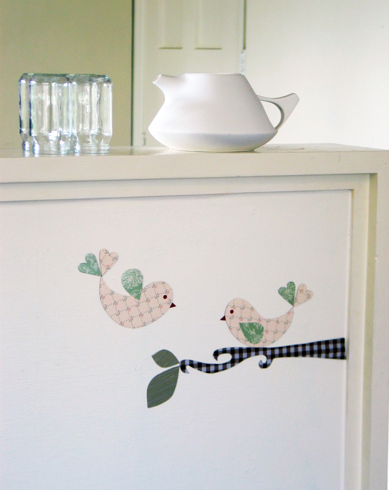 lovebird decals shabby chic esque magnetic wall art felt
