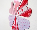 Fabric magnets - set of six pink and red hearts