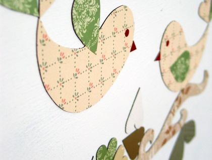 Lovebirds and hearts set of magnetic fabric and wallpaper decals
