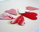6 large heart magnets - red and white
