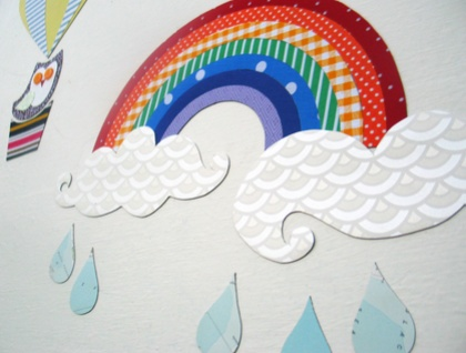 """Up and Away"" - hot air balloon, rainbow, clouds, raindrops & owl - large interactive magnetic wallscape - bright colours"