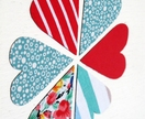 set of 6 large heart magnets - turquoise and red fabrics