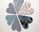 six heart magnets - teals & greys