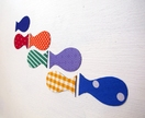Fabric fish magnets set of 7 - rainbow colours