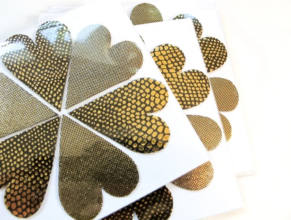 Gold fabric heart magnets