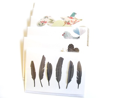Fabric Feathers  - blank greeting card