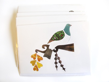 Kereru in the Kowhai - blank greeting card