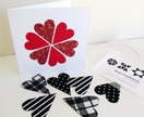 Christmas Gift Set: card & 6 large heart magnets - ideal for sending overseas