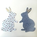 Bunny fabric decals - restickable, reusable!