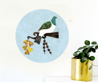 Kereru restickable art dot - 44cm