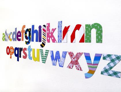 alphabet magnets - 26 colourful letterforms a-z!