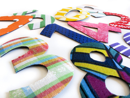 fabric number magnets!