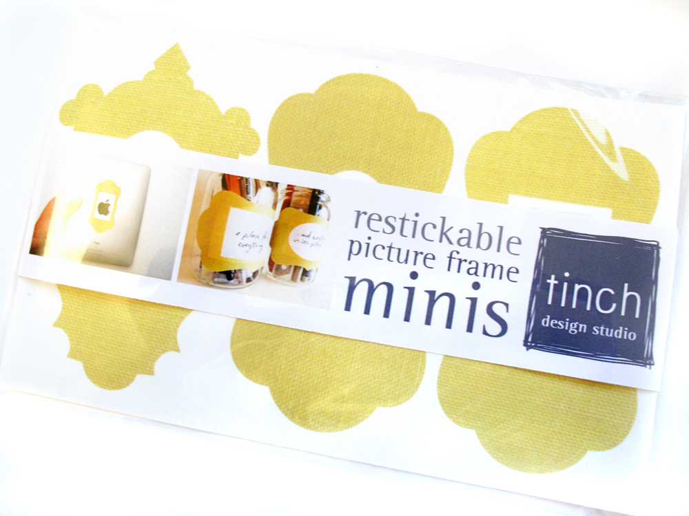 Mini Picture Frame Label Stickers Yellow Fabric Texture