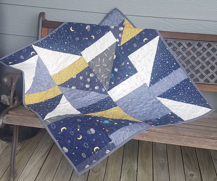 Starry night cot quilt