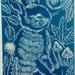 Autumn Bunny Linocut in Kahurangi Blue