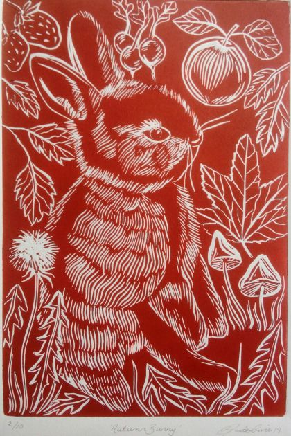 Autumn Bunny Linocut in Whero Red