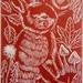Autumn Bunny Linocut in Whero Red