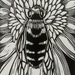 Native Bee Linocut in Pango Black