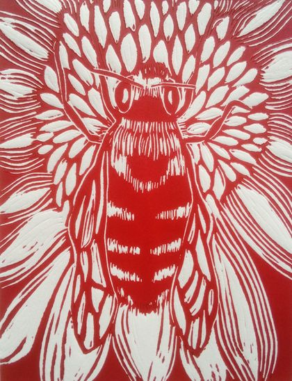 Native Bee Linocut in Whero Red