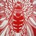 Native Bee Linocut in Whero Red
