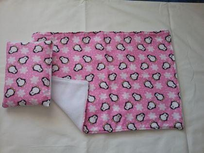 Cute Pillow Sets : Dolls Blanket and Little Pillow Set - Cute Penguins Felt