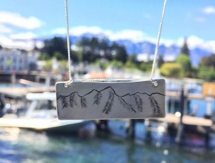 Queenstown's Remarkables Mountains Hand Engraved Silver Necklace