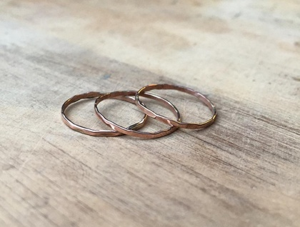 Set of 9k Rose Gold Hammered Stacking Thin Rings