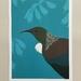 Tui Kowhai Teal A4 Art Print