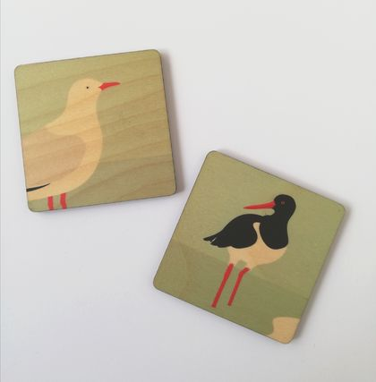 Wooden Coaster set - Seagull & Oyster Catcher