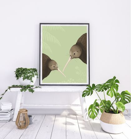 Kiwi pair green A4 Fine Art Print