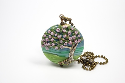 Lampwork Glass Blossom Tree Pendant
